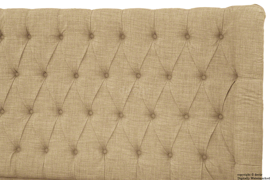 Hollyrood Buttoned Linen Winged Headboard - Mink