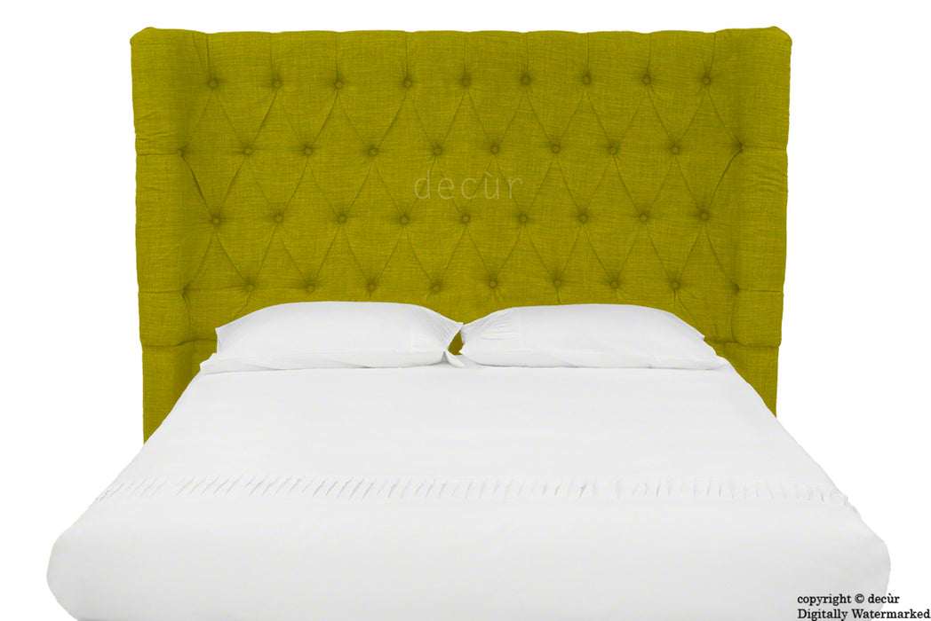 Hollyrood Buttoned Linen Winged Headboard - Olive