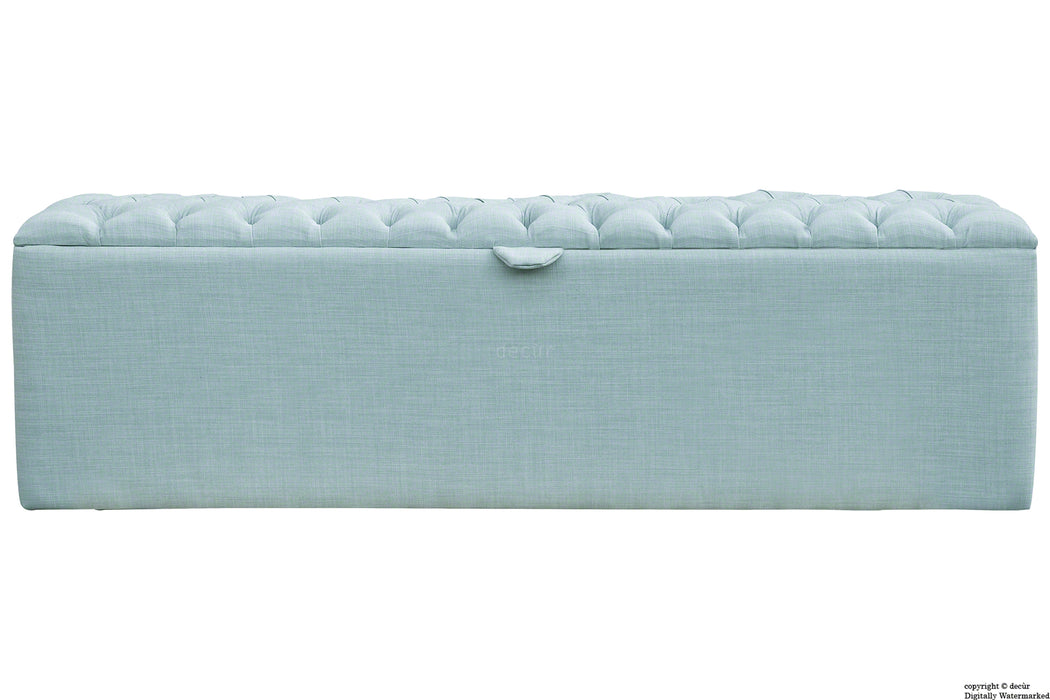 Viscount Linen Ottoman - Sky Duck Egg Blue