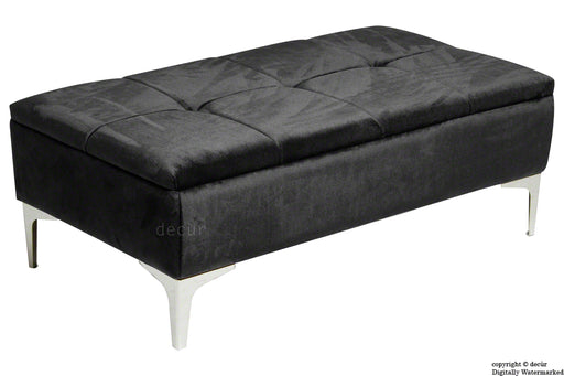 Mila Modern Buttoned Velvet Footstool - Cosmic Black  SALE