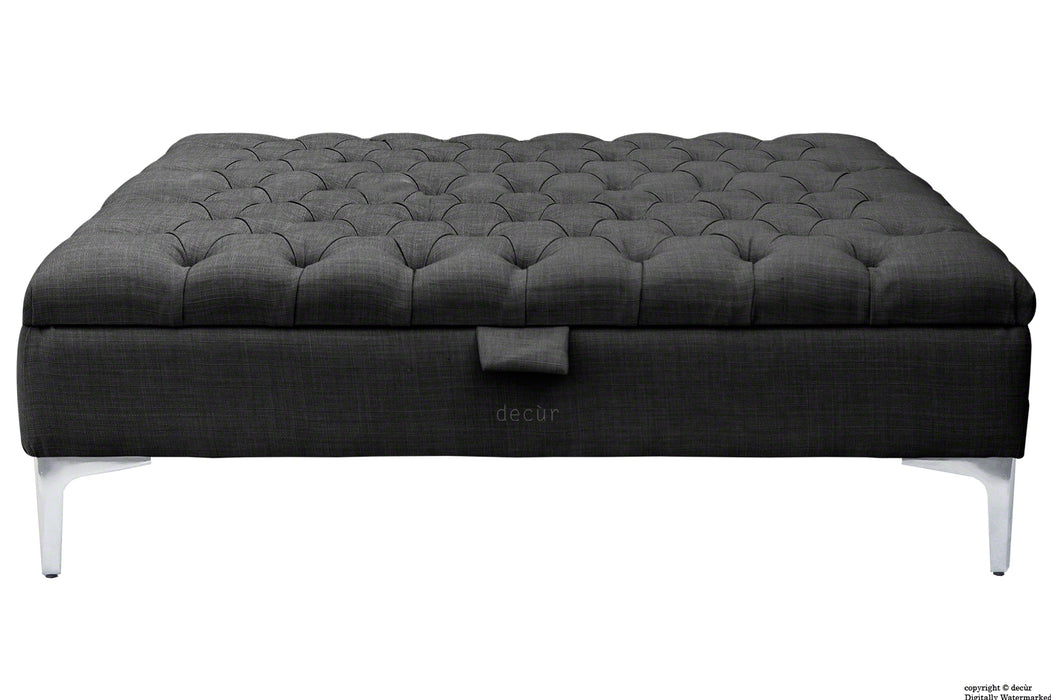Tiffany Modern Buttoned Linen Footstool Large - Ebony Black with Optional Storage