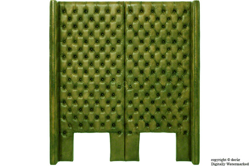 Beauchamp Buttoned Courtyard Leather Headboard Olive Green