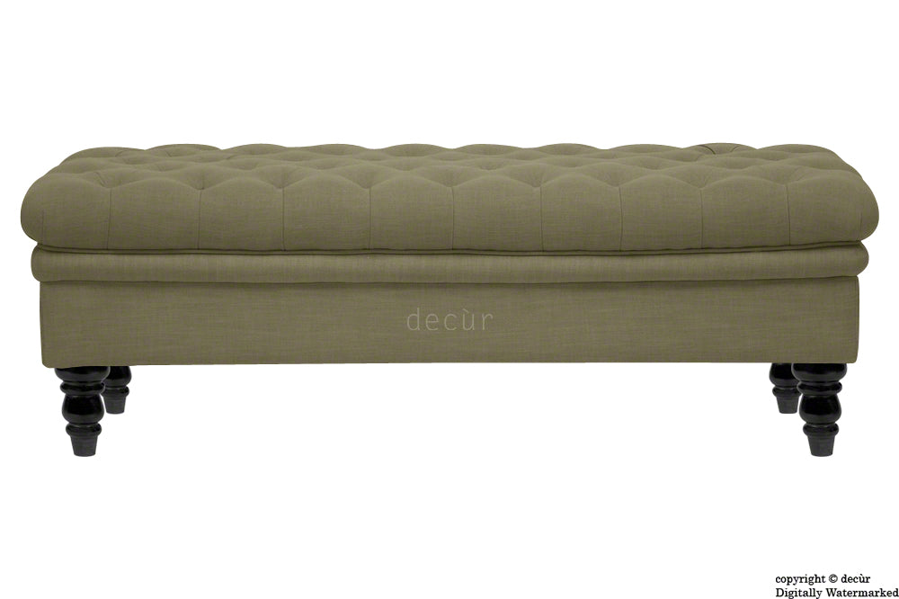 Amy Buttoned Linen Modern Tufted Footstool - Fudge