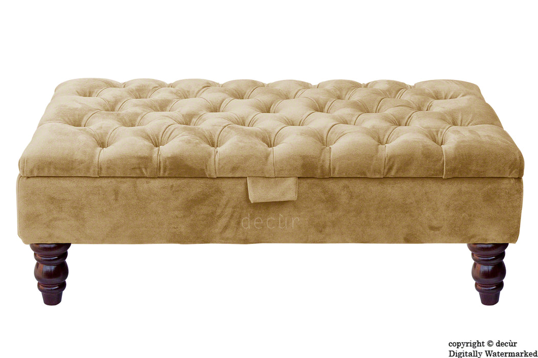 Tiffany Buttoned Velvet Footstool - Parchment with Optional Storage