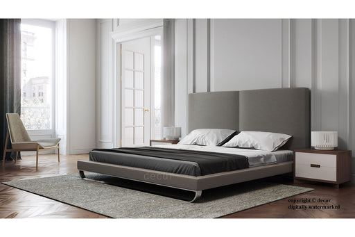 Designer Modern Leather Bed - Grey