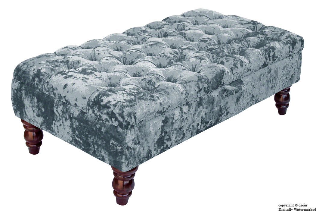 Tiffany Buttoned Crushed Velvet Footstool - Dream with Optional Storage