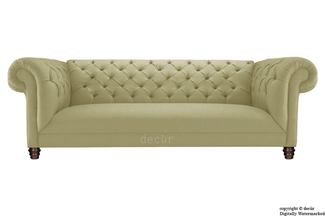 Albert Chesterfield Linen Sofa - Taupe