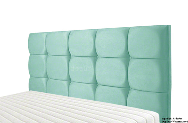 Grace Mila Velvet Buttoned Headboard - Seaspray