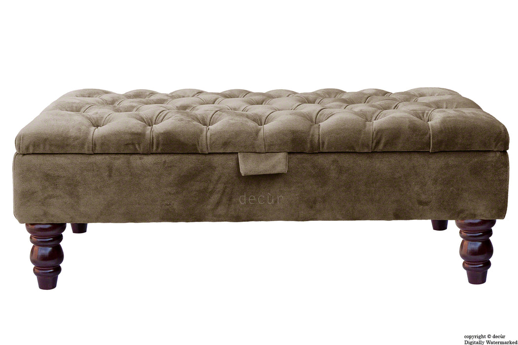 Tiffany Buttoned Velvet Footstool - Taupe with Optional Storage