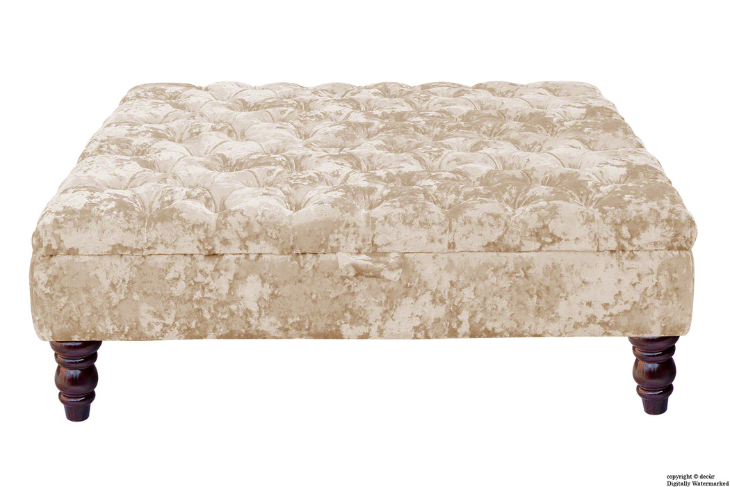 Tiffany Buttoned Crushed Velvet Footstool Large - Vapour with Optional Storage