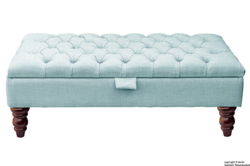 Tiffany Buttoned Linen Footstool - Sky Duck Egg Blue with Optional Storage