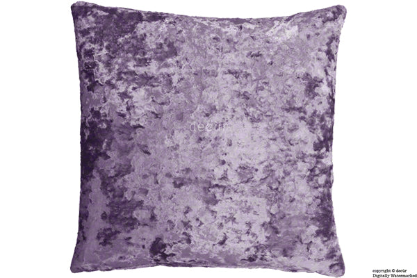 London Crushed Velvet Cushion - Lavender