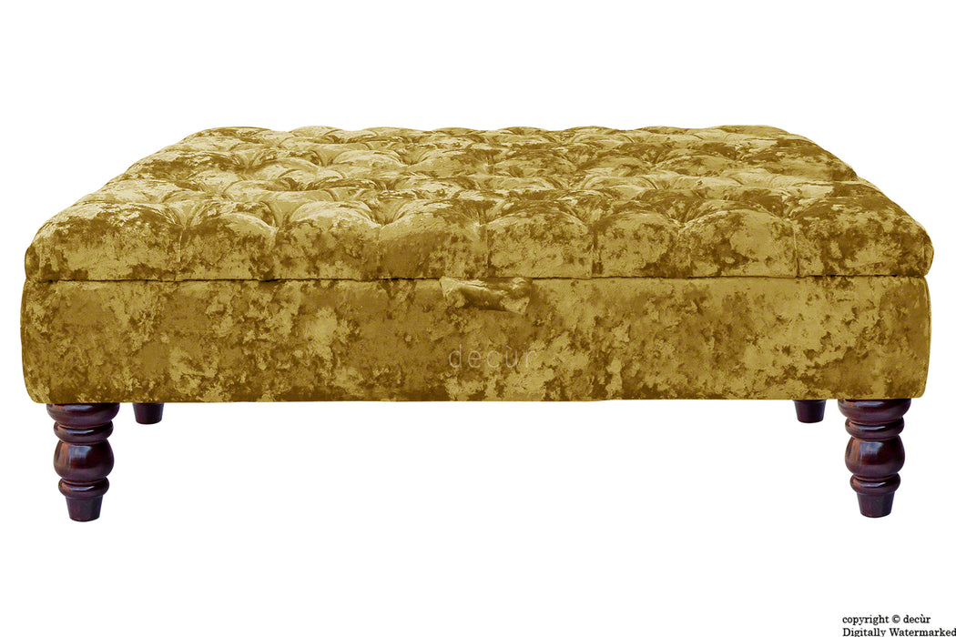 Tiffany Buttoned Crushed Velvet Footstool Large - Gilded with Optional Storage