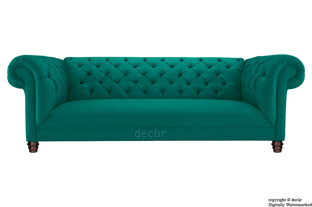Albert Chesterfield Linen Sofa - Teal