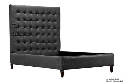 Grace Upholstered Leather Bed - Black (Faux Leather Options)