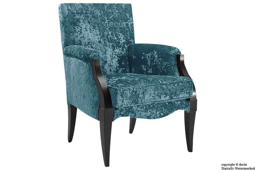 Art Deco Crushed Velvet Arm Chair - Aqua
