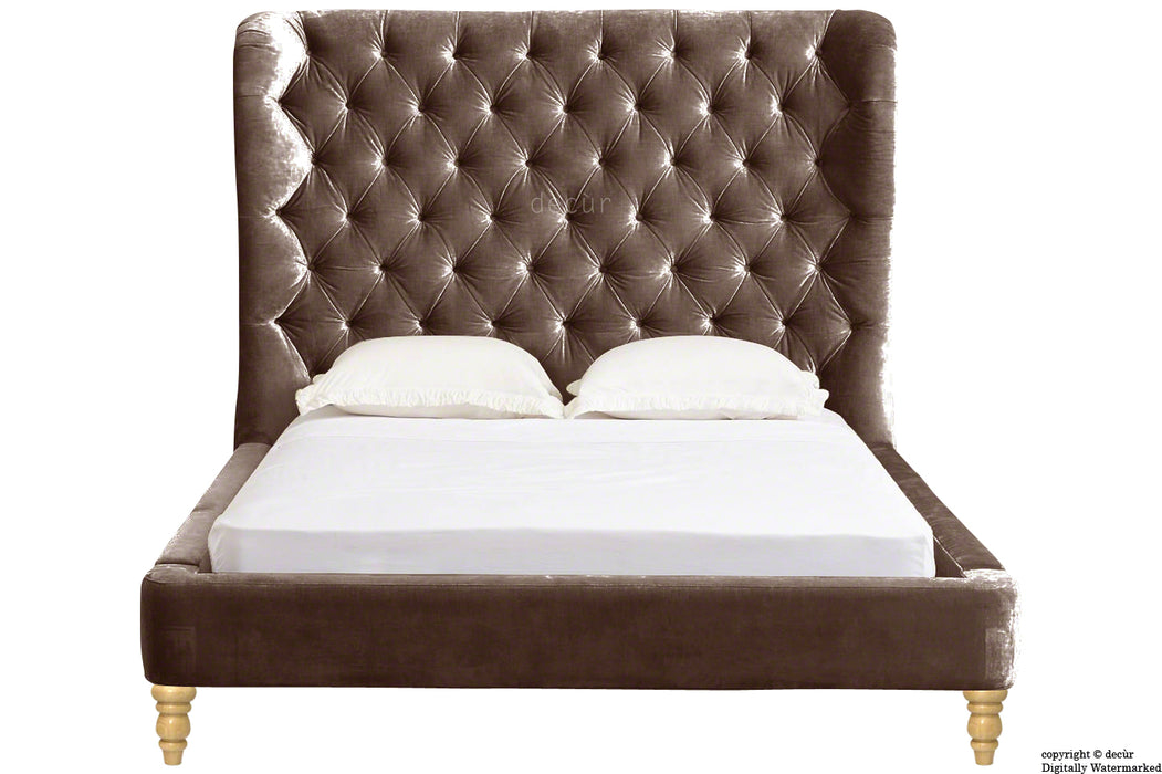 Knightsbridge Winged Velvet Upholstered Bed - Mushroom