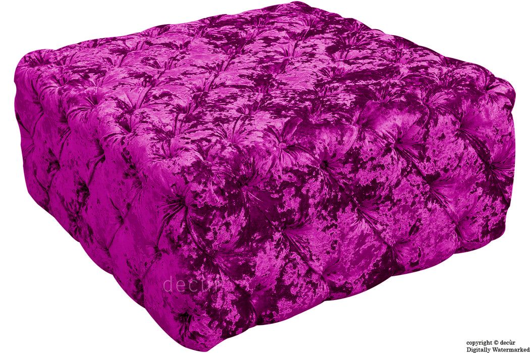 Ralph Buttoned Crushed Velvet Ottoman - Glamour