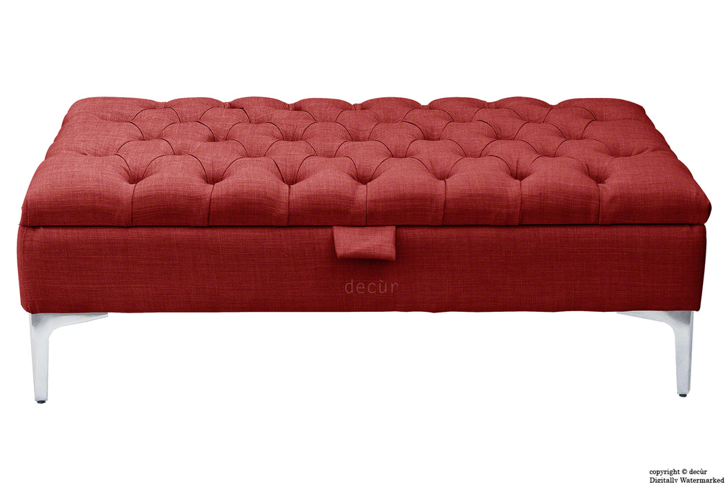 Tiffany Modern Buttoned Linen Footstool - Wine with Optional Storage