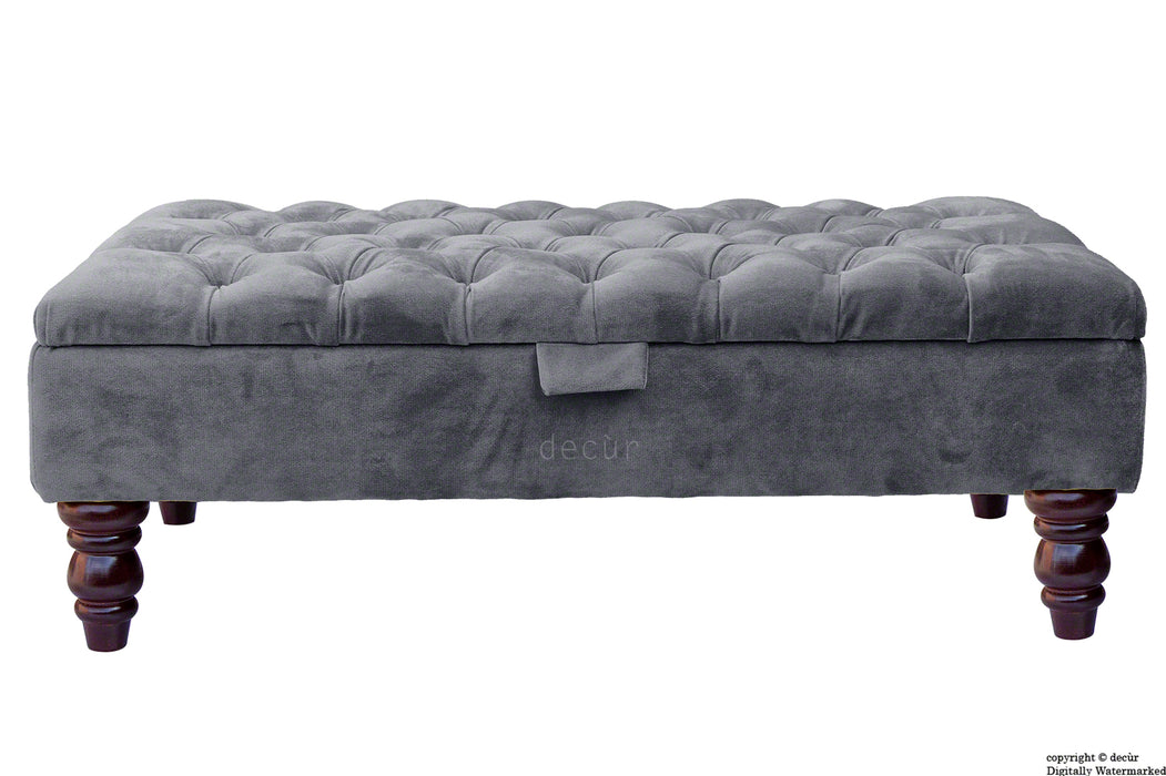 Tiffany Buttoned Velvet Footstool - Seal with Optional Storage