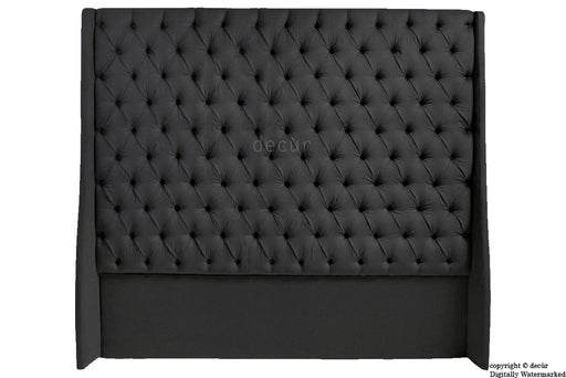 Abbingdon Buttoned Winged Velvet Headboard - Cosmic Black