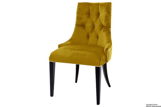 Magdalin Deep Buttoned Velvet Dining Chair  - Gold