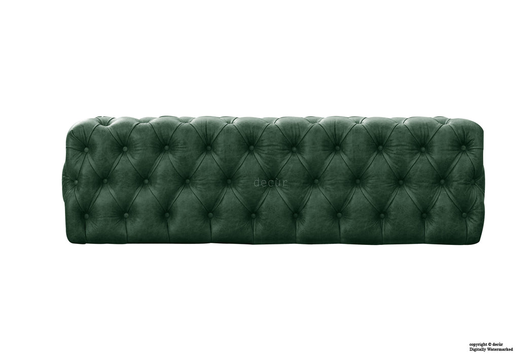 Oliver Buttoned Leather Ottoman - Absinthe Green