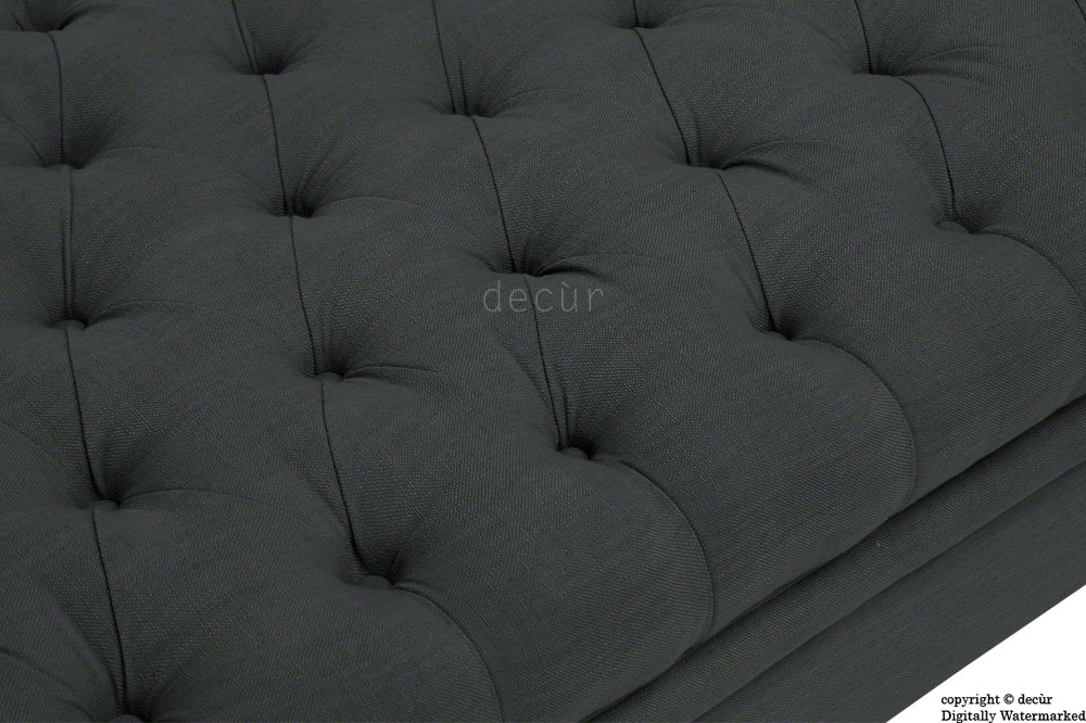 Amy Buttoned Linen Modern Tufted Footstool - Charcoal
