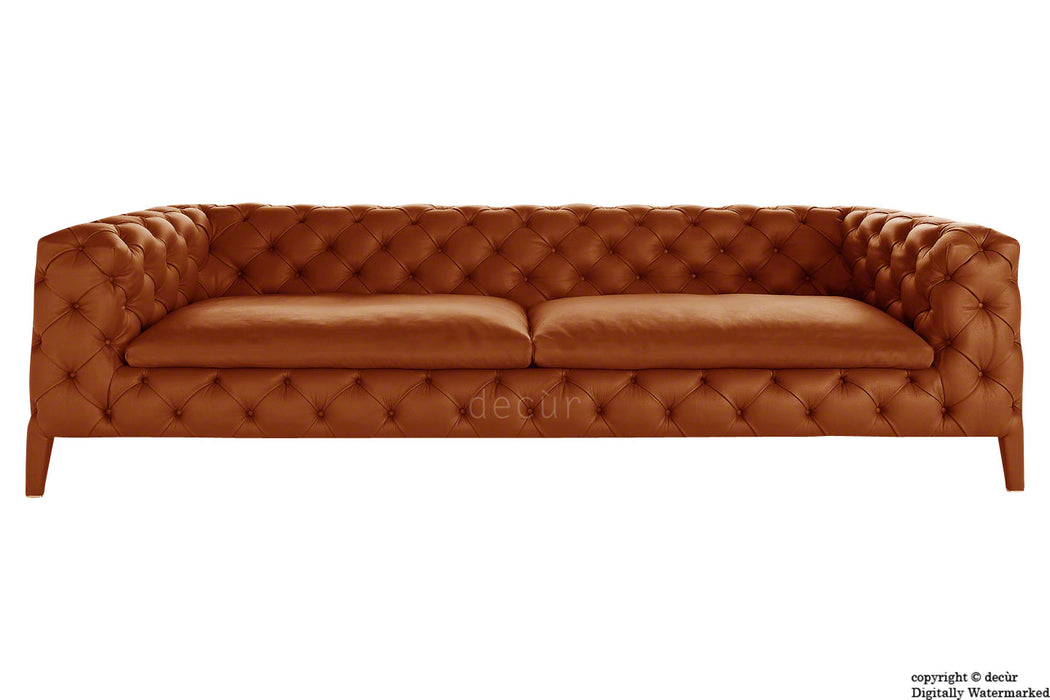 Rochester Leather Chesterfield Sofa - Wood Bark Orange