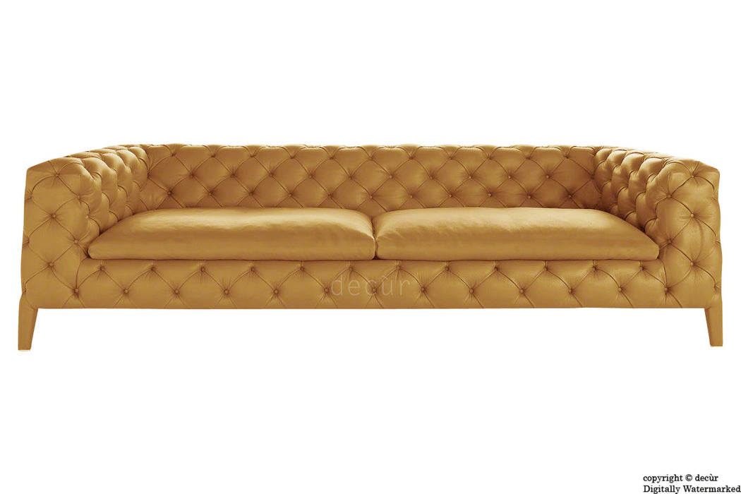 Rochester Leather Chesterfield Sofa - Mustard Seed
