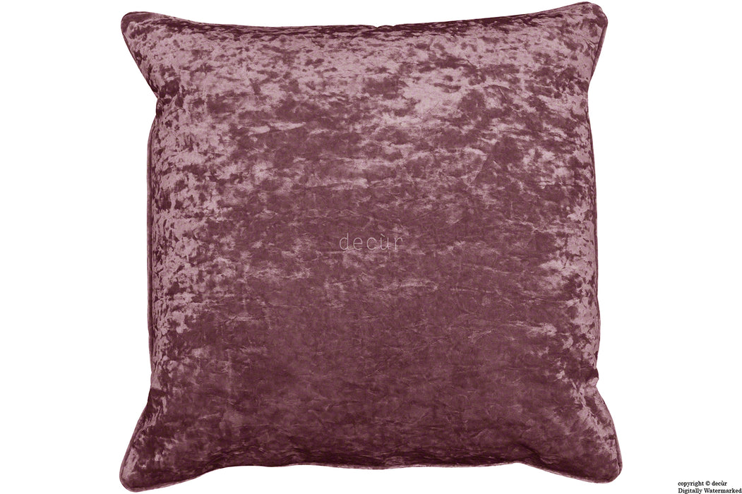 Serenity Crushed Velvet Cushion - Mulberry