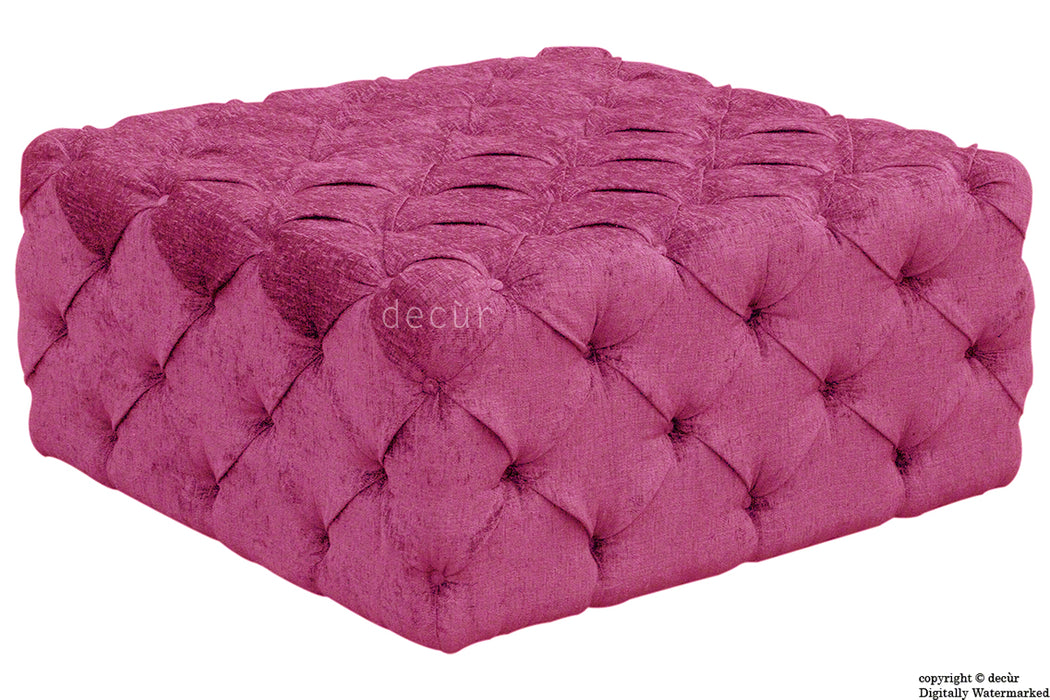 Ralph Buttoned Chenille Ottoman - Mulberry