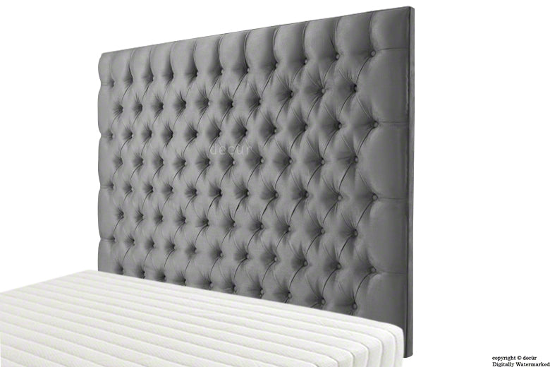 Tiffany Harrogate Buttoned Wall High Velvet Headboard - Seal