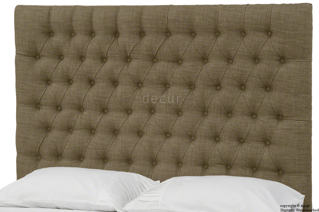 Kensington Buttoned Linen Headboard - Nutmeg