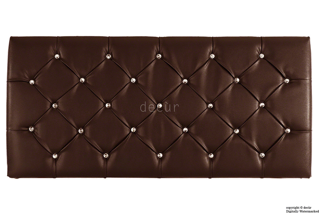 Boutique Crystal X Series Headboard- Brown Faux Leather