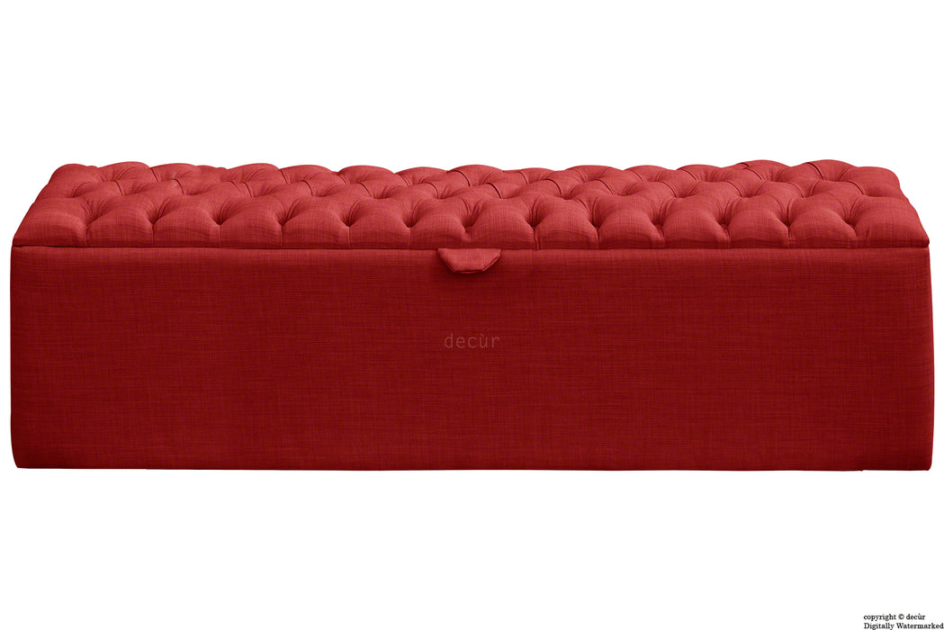 Viscount Linen Ottoman - Ruby