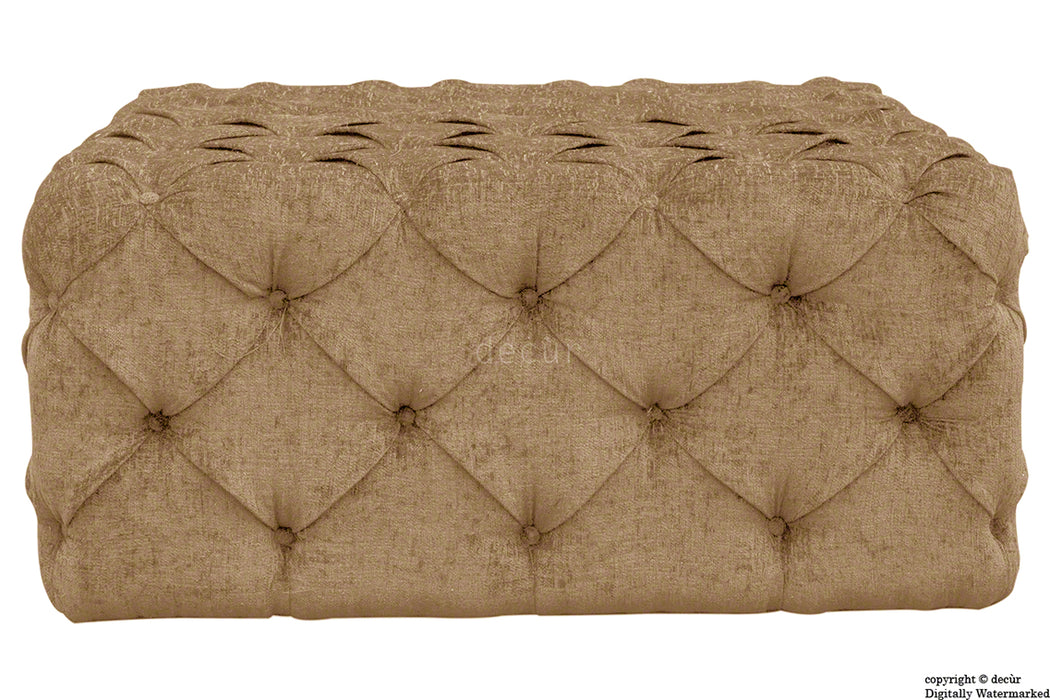 Ralph Buttoned Chenille Ottoman - Saddle