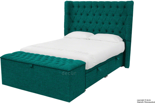 Hollyrood Linen Upholstered Winged Ottoman Bed - Teal