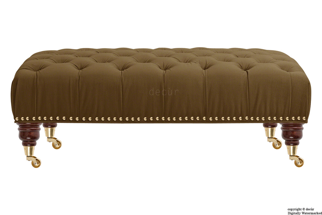 Catherine Buttoned Velvet Footstool - Mushroom with Optional Storage