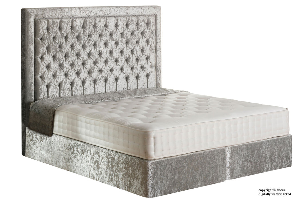Mayfair Buttoned Crushed Velvet Bed - Pewter