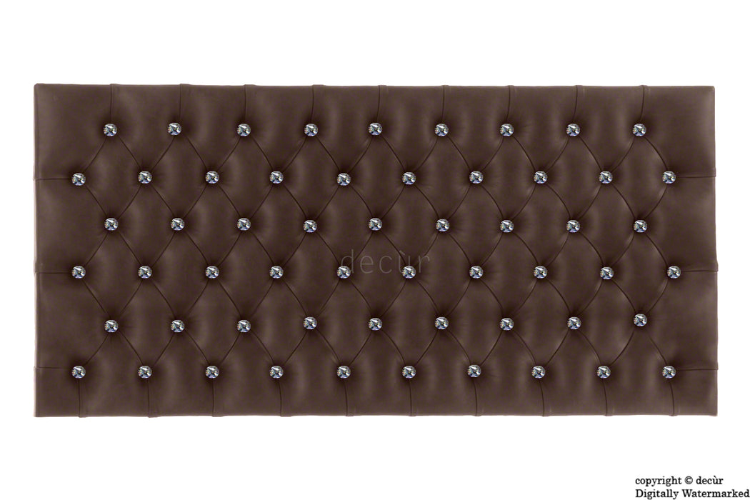Tiffany Harrogate Faux Leather / Faux Suede Buttoned Headboard - Brown