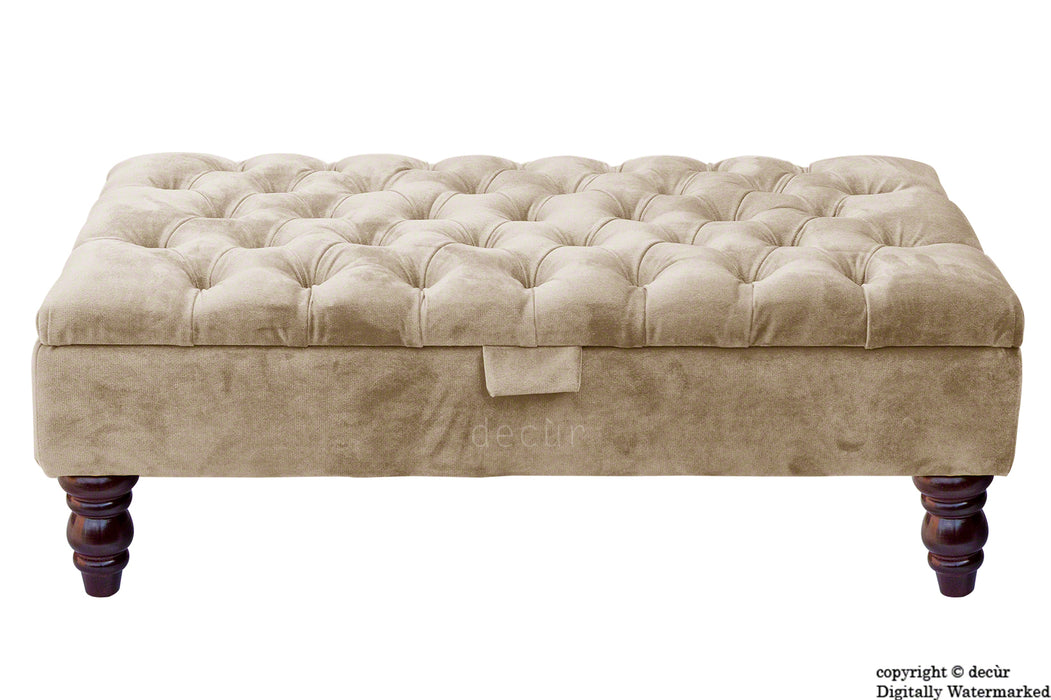 Tiffany Buttoned Velvet Footstool - Putty with Optional Storage