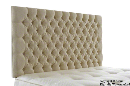 Tiffany Harrogate Buttoned Wall High Chenille Headboard - Natural