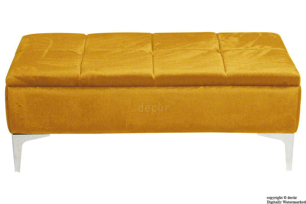 Mila Modern Buttoned Velvet Footstool - Gold with Optional Storage