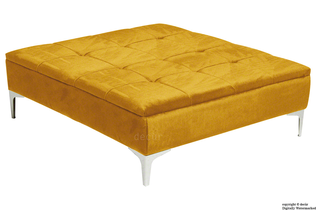 Mila Modern Buttoned Velvet Footstool Large - Gold with Optional Storage