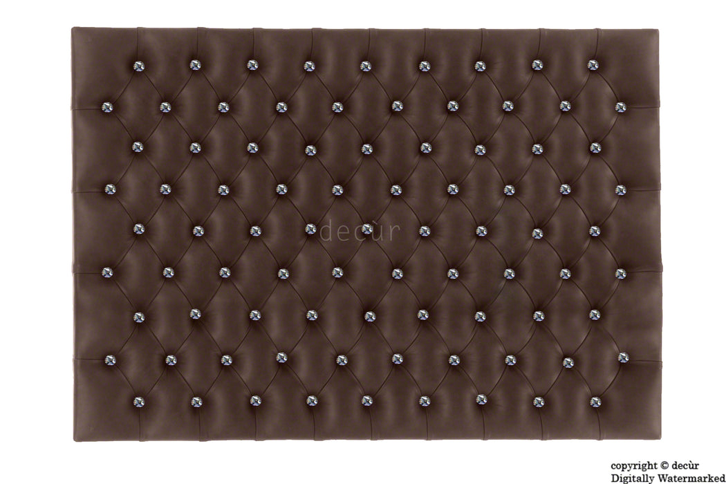 Tiffany Harrogate High Faux Leather / Faux Suede Buttoned Wall Headboard - Brown