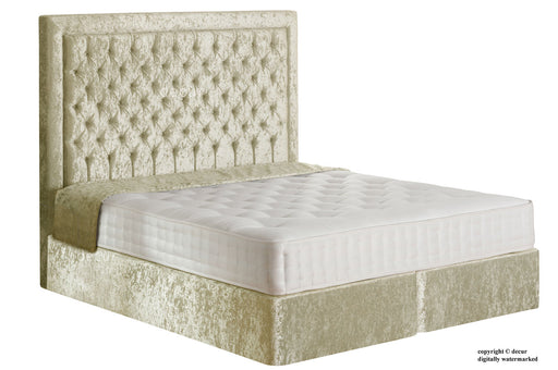 Mayfair Buttoned Crushed Velvet Bed - Pearl