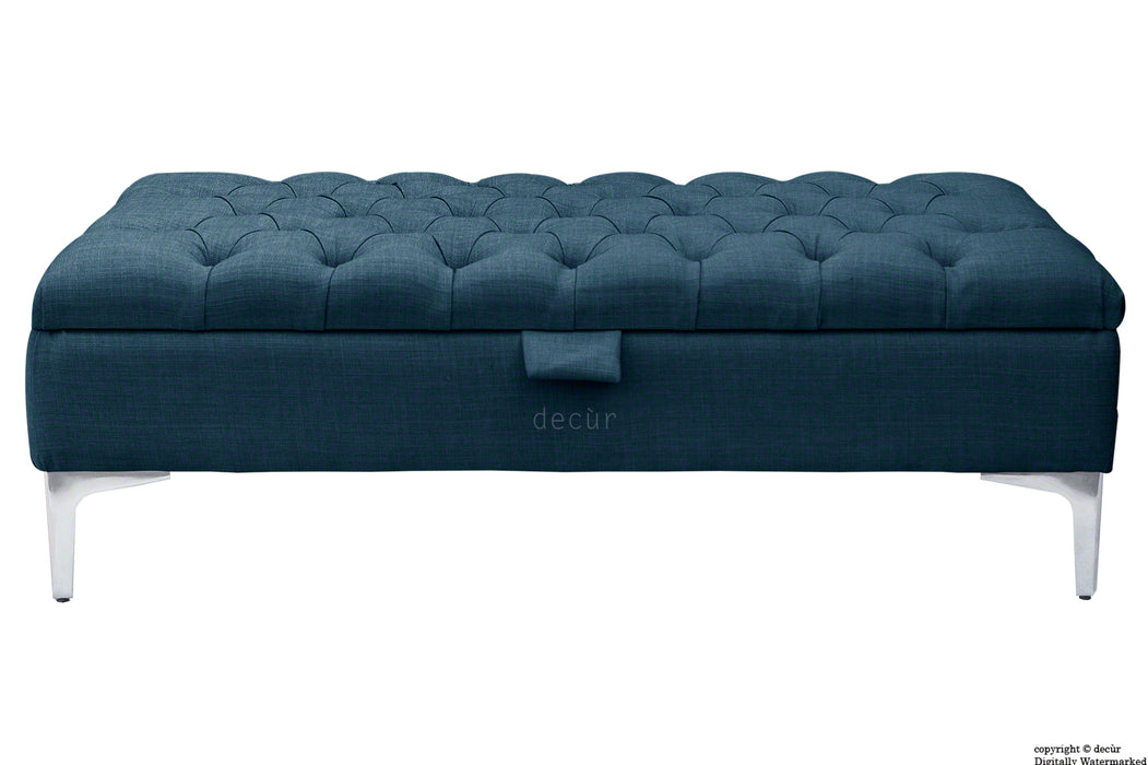 Tiffany Modern Buttoned Linen Footstool - Midnight with Optional Storage