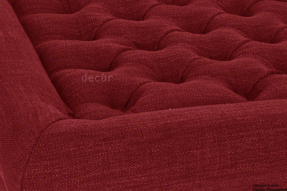 Cavendish Buttoned Linen Footstool - Red