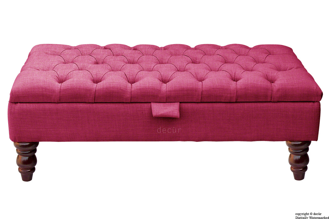 Tiffany Buttoned Linen Footstool - Fuchsia with Optional Storage